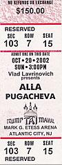 билет на концерт в Атлантик Сити (США, 20 октября 2002)
